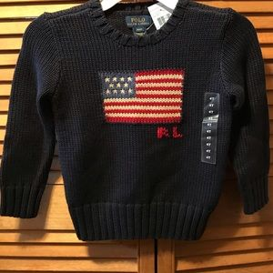 Polo Ralph Lauren Navy Blue Flag Pullover Sweater
